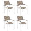 This item: Travira Vintage Tekwood Seat and Chalk Powder Coated Aluminum Frame Armchair , Set of Four