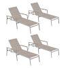 This item: Travira Chaise Lounge - Powder Coated Aluminum Frame - Bellows Sling - Tekwood Natural Armcaps  - Set of 4