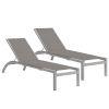 This item: Argento Armless Chaise Lounge - Powder Coated Aluminum Frame - Titanium Sling - Argento Side Rails - Set of 2