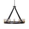 This item: Wyatt Bronze and Leather Twelve-Light Chandelier