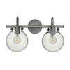 This item: Irving Antique Nickel Two-Light Vanity with Glass Globe Shade