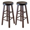 This item: Marta Set of 2 Round Bar Stool, Pu Leather Cushion Seat, Square Legs