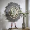 This item: Elaine Dark Brown Round Sunburst Wall Mirror