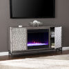This item: Hollesborne Gray and gunmetal gray Color Changing Fireplace with Media Storage