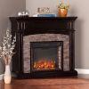 This item: Grantham Ebony Faux Stone Corner Electric Media Fireplace