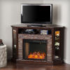 This item: Redden Espresso Corner Convertible Smart Electric Fireplace with Storage