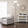 This item: Orson Brushed Nickel with Frosted White Glass Three-Light Floor Lamp