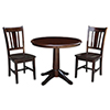 This item: Rich Mocha 36-Inch Straight Pedestal Dining Table with Two San Remo Chairs
