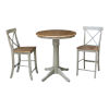 This item: Hickory and Stone 30-Inch Round Pedestal Gathering Height Table With X-Back Counter Height Stools, Three-Piece