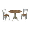 This item: Emily Hickory and Stone 42-Inch Dual Drop leaf Table with Side Chairs, Three-Piece