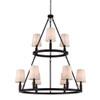 This item: Bradford Bronze Nine-Light Chandelier with Ivory Fabric Shade