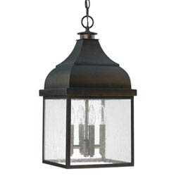 Item Westridge Old Bronze Four-Light Outdoor Hanging Lantern with Antique Glass