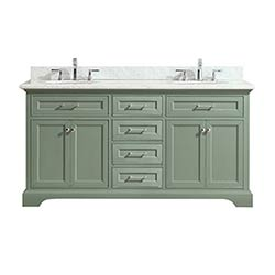 Item Mercer 73 Inch Double Sink Vanity In Sea Green Finish With Carrera  White Marble Top