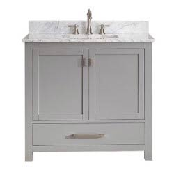 Item Modero Chilled Gray 36-Inch Vanity Combo with White Carrera Marble Top