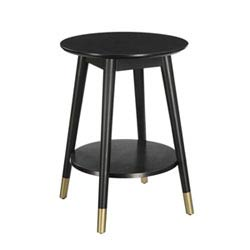 Item Wilson Mid Century Round End Table with Bottom Shelf