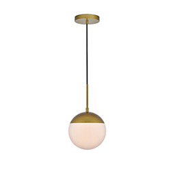 Item Eclipse Brass and Frosted White One-Light Mini Pendant