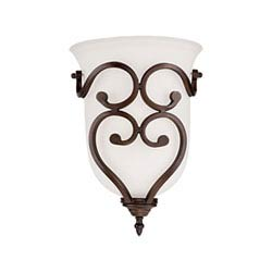 Item Courtney Lakes Rubbed Bronze One Light Sconce with Turinian Scavo Glass