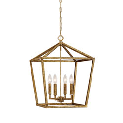 Item Vintage Gold 16-Inch Four-Light Pendant