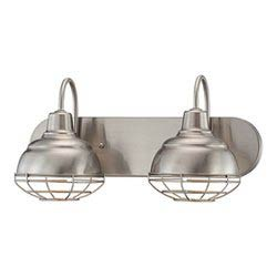 Item Neo-Industrial Satin Nickel 9 x 18-Inch Two Light Vanity Fixture