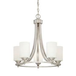Item Bristo Satin Nickel Five-Light Chandelier with Etched White Glass