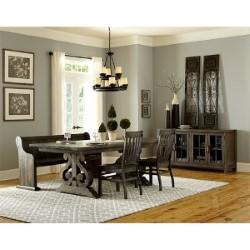 Magnussen Home Bellamy Pewter Wood Buffet Curio Cabinet
