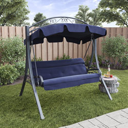 Relaxing Moments In Your Backyard Are Made Easy With The Addition Of This Patio  Swing. The Sturdy, Accented Steel Frame Is Complimented By An Arched Shade  ...