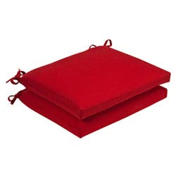 Item Outdoor Red Solid Seat Cushion Squared , Set of Two