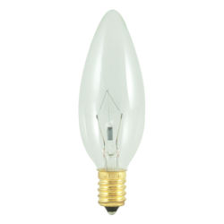 Base with Candelabra Screw 15 Pack Clear E12 Bulbrite 861267 3 W Dimmable B10 Shape Incandescent Bulb