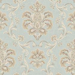 Item Arlington Aqua and Cream Bohemian Damask Wallpaper