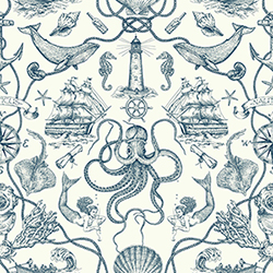 Item Tailored Blue Toile Wallpaper