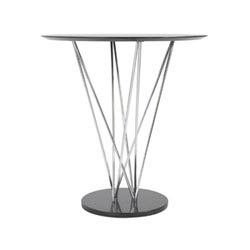 Item Stacy Bar Table in Ebony with Chromed Steel Column and Black Marble Base