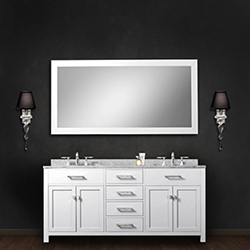 Water Creation Madison Pure White 60 Inch Double Sink Bathroom
