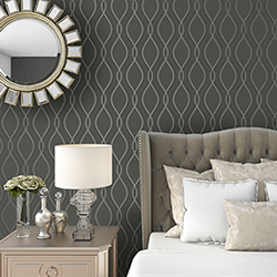 Item Tear Drop Charcoal and Metallic Silver Removable Wallpaper