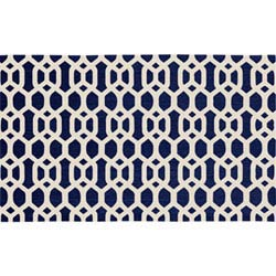 Item Hexagon Fretwork Navy Blue and White Rectangular: 3 Ft. x 5 Ft. Washable Rug and Pad