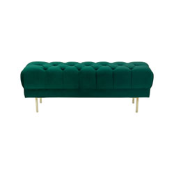 Item Large Velvet Decorative Bench with Button Tufting - Emerald