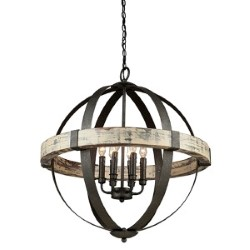 Item Castello Black and Aspen Wood Six-Light 26.5-Inch Wide Chandelier