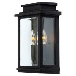 Item Fremont Black Two-Light 13.5-Inch High Outdoor Wall Sconce  sc 1 st  Bellacor : black iron sconces - www.canuckmediamonitor.org