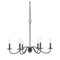 Item Evelyn Aged Iron Six-Light Chandelier