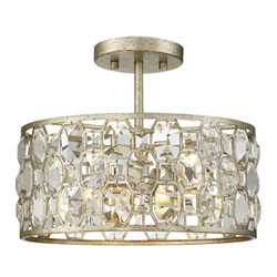 Item Vivian Silver Gold Two-Light Semi Flush Mount with Crystal Accents
