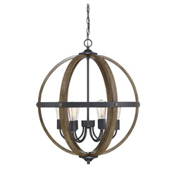 Item Fulton Wood and Black Six-Light Globe Pendant