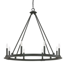 Item Fulton Black Iron Eight-Light Minimalist Chandelier