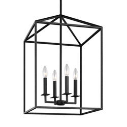 Item Uptown Textured Black 19-Inch Four-Light Pendant