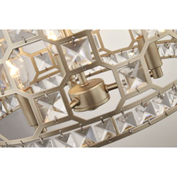 With Its Dramatic Geometric Framework And Crystal Details This 3 Light Gold Drum Pendant Is A Showpiece In Dining Room Or Elegant Foyer