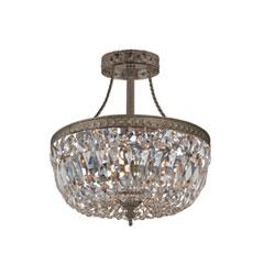 Item Traditional Antique Brass Three-Light Hand Cut Semi Flush Crystal Basket