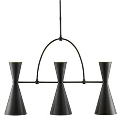 Black contemporary chandeliers free shipping bellacor oozing modern italian style the gino rectangular chandelier features three spun metal shades with a two bulbs one above and below aloadofball Gallery