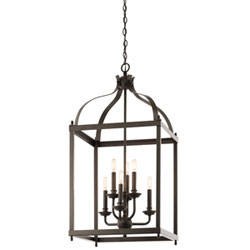 Item Larkin Olde Bronze Six Light Cage Foyer Pendant