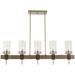 Item Bridlewood Stone Grey with Brushed Nickel Five-Light Island Pendant