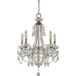 Item Distressed Silver Five-Light Mini Chandelier