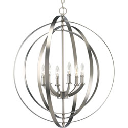 Item P3889-126:  Equinox Burnished Silver Six-Light Pendant