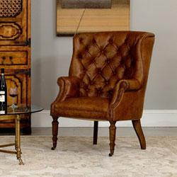 Sarreid Brown Welsh Leather Chair 29521 Bellacor